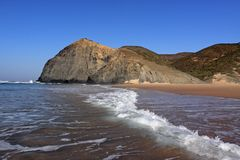 View of the beach coast in Algarve, Portugal Royalty Free Stock Photography