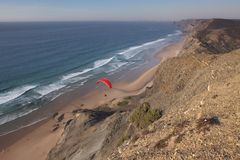 View of the beach coast in Algarve, Portugal Royalty Free Stock Photos