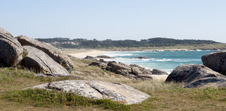 View of the beach coast. In Corrubedo Royalty Free Stock Photography