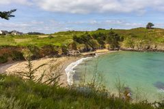 View of a beach on the coast of Pléneuf-Val-André. View of a beach along the coastal path between the port of Dahouët to Pléneuf-Val-Andr royalty free stock images