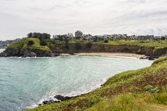 View of a beach on the coast of Pléneuf-Val-André. A small beach on the route along the coastal path between the port of Dahouët to Pléneuf-Val-Andr royalty free stock image