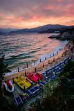 Beach resort on a cloudy day. View of a beach in Elba island stock image