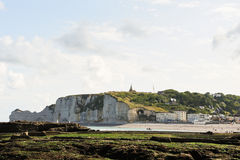 View beach of Etretat cote d'albatre. On english channel, France Royalty Free Stock Photos