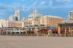View from the beach at the famous Dutch Kurhaus of Scheveningen Stock Photo