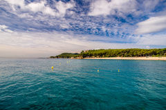 View of the beach Fenals. Beachfront Fenals.Lloret de Mar, Spain Royalty Free Stock Image