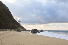 View of beach in Fernando de Noronha, Brasil at sunset Royalty Free Stock Images