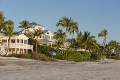 View of the beach from the fishing pier in Fort Myers Beach, Florida. View from beach on summer house in Fort Myers Beach, Florida Stock Image