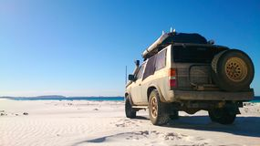 View of Beach on Fraser Island with one car stock image