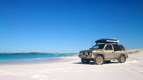 View of Beach on Fraser Island with one car stock photos