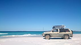 View of Beach on Fraser Island with one car royalty free stock photos