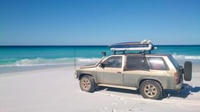 View of Beach on Fraser Island with one car stock photography
