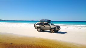 View of Beach on Fraser Island with one car royalty free stock photography