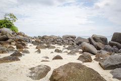 View of Beach Full of Rocks in Pandang Beach Indonesia Stock Photos