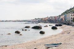 Giardini - Naxos, Sicily, Italy. View of the beach of Giardini Naxos, famous holiday destination in Sicily, Italy Royalty Free Stock Image
