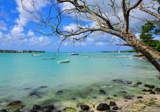 Seascape in Grand Baie, Mauritius. View of the beach in Grand Baie, Mauritius. Mauritius received the World Leading Island Destination award for the third time Royalty Free Stock Photos