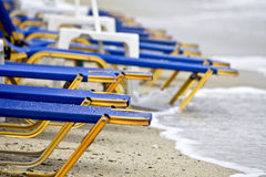 View of a beach in Greece. With sunbeds Stock Photo