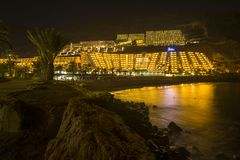 View of a beach and hotel in Taurito, Gran Canaria.  stock photos