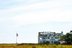 View from the beach of a house in the Kennedy Compound - the waterfront property on Cape Cod along Nantucket Sound owned by Presid. The View from the beach of a Stock Photography