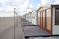 View at beach houses on beach in IJmuiden Royalty Free Stock Photography