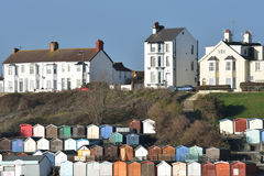View of Beach huts. And houses at Walton on Naze Royalty Free Stock Images