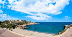 View of beach inside the city. View of beach of Balai  inside the city of Porto Torres - Sardinia in summer, blue, sea, water, nature, landscape, coast, island stock photos