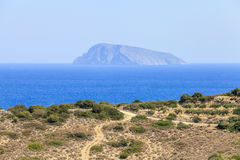 View of the beach on the island of Crete. Greece. Sea view of the beach on the island of Crete. Greece Stock Photo