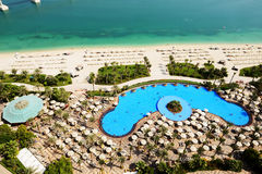View on beach at Jumeirah Palm man-made island. Dubai, UAE Royalty Free Stock Photography