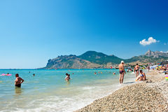 View of the beach in Koktebel, Crimea. Ukraine Stock Photos