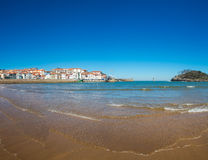 View of the beach of Lekeitio. With clear blue sky, Vizcaya, Basque Country, Spain Royalty Free Stock Photos