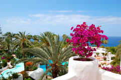 View on the beach of luxury hotel Stock Images