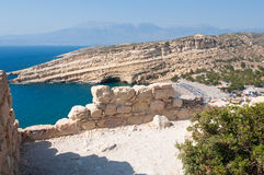 View Beach of Matala from the mountain near Heraklion town on the island of Crete, Greece. Stock Photos