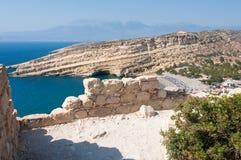 View Beach of Matala from the mountain near Heraklion town on the island of Crete, Greece. Stock Photos