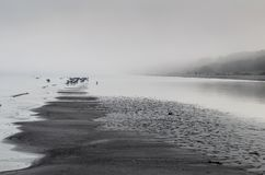 A view of a beach on a misty day in Autumn, Latvia. Jurmala royalty free stock photo