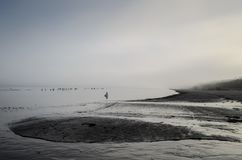 A view of a beach on a misty day in Autumn, Latvia. Jurmala royalty free stock image