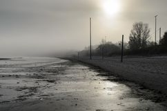 A view of a beach on a misty day in Autumn, Latvia. Jurmala royalty free stock photography