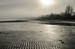 A view of a beach on a misty day in Autumn, Latvia. Jurmala royalty free stock images