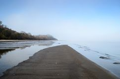 A view of a beach on a misty day in Autumn, Latvia. Jurmala stock image