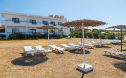 View from the beach on modern European resort Royalty Free Stock Images