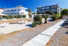 View from the beach on modern European resort Stock Photos