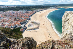 View of the beach, Nazare (Portugal) Stock Images