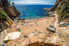 View of the beach near the fortress in Tossa de Mar Royalty Free Stock Image