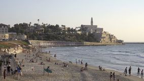 Beach near old city of Jaffa in Tel Aviv, Israel. View of beach near old city of Jaffa in Tel Aviv, Israel stock video