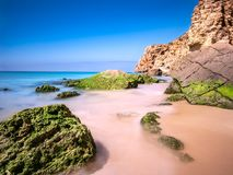View on beach near Sagres at the atlantic ocean Portugal Europe royalty free stock photography