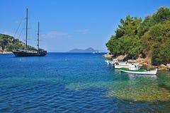 Greece,island Ithaki-view of the island Atokos. View on the beach near town Kioni  on the island Ithaki in Greece Stock Photography