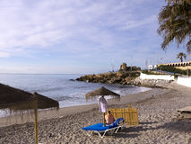 Beach in Nerja Spain Stock Photo