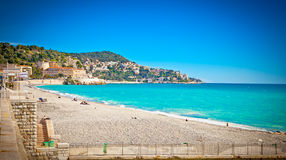 View of the beach in Nice, France. Royalty Free Stock Image