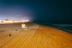 View of the beach at night, in Huntington Beach  Stock Photos
