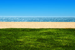View of beach and ocean. With sand and grass Royalty Free Stock Photography