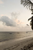 View of the beach and ocean. At sunrise in Bamburi, Kenya Stock Photography