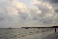 View of the beach and ocean. At sunrise in Bamburi, Kenya Royalty Free Stock Photography